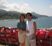 Gretchen with her husband at Lovers Point at the Japanese seaside