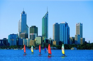 Perth skyline with surf cats on the Swan River